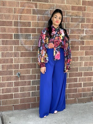 Royal Blue HIGH RISE WIDE LEG PALAZZO PANTS