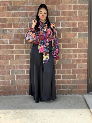 Black Satin Wide Leg Pants