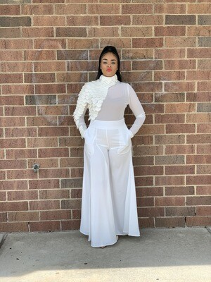 Ivory Pleated Flare Satin Pants