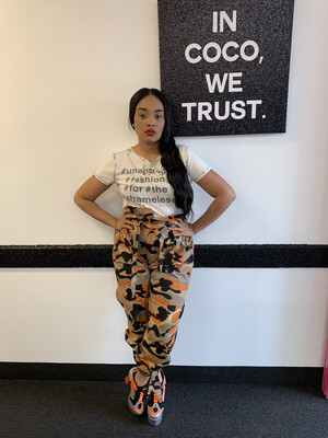 Orange High Waist Camo Pants