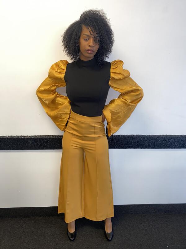 Mustard And Black Crop Top