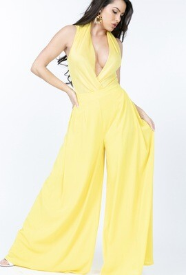 YELLOW PLEATED DETAIL WIDE LEG PANTS