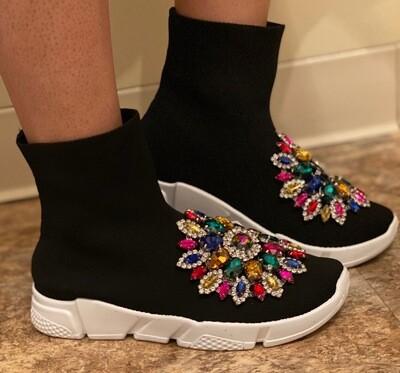 Fancy-Black Jeweled Sneaker