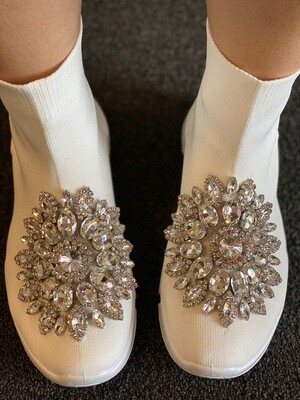 Fancy-White Jeweled Sneaker