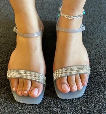 Grey Rhinestone Sandal