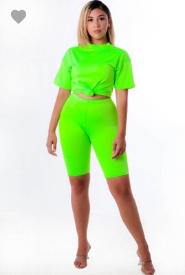 Neon Green Biker Short Set
