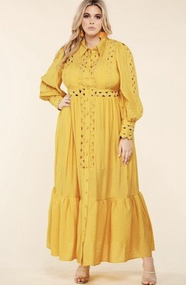 Mustard Whimsical Maxi Dress