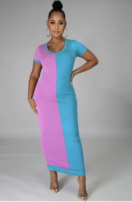 Turquoise Lavender Two Tone Dress