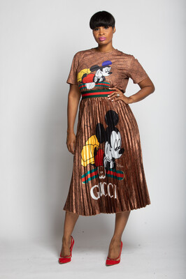 The Brown Mickey Pleated Skirt Set