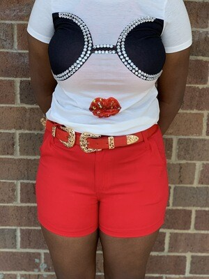 Red Shorts W/belt