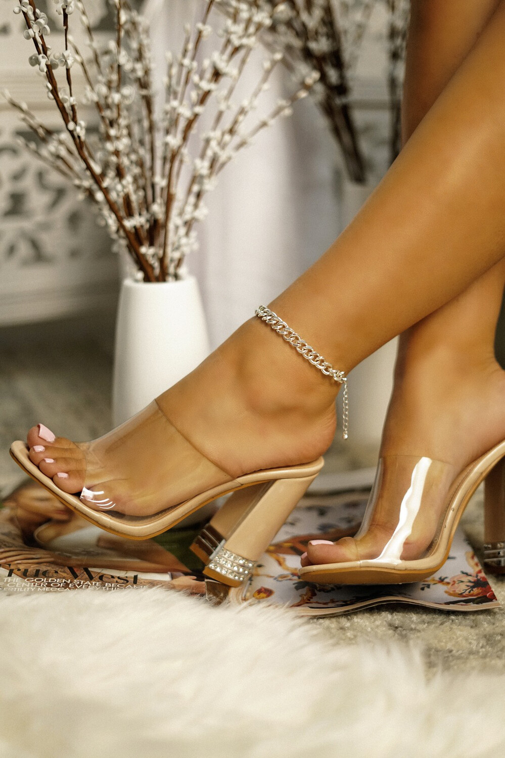 Beauty - Nude Clear Bling Heel
