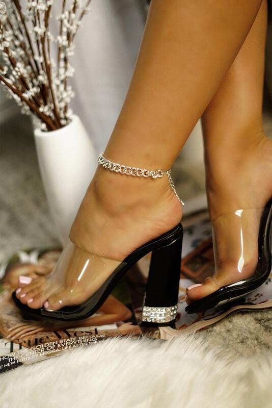 Beauty - Black Clear Bling Heel