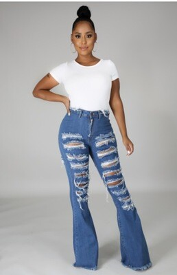 Peek A Boo Distressed Jeans - Medium Blue