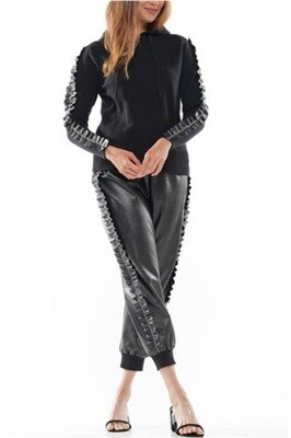 Black Faux Leather Bling Jogger Set