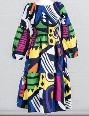 Abstract African Print Bubble Sleeve Dress
