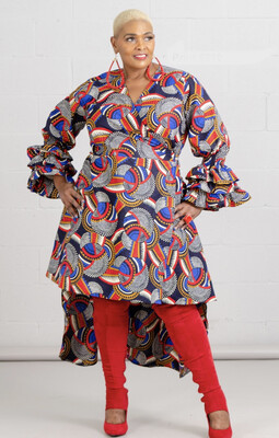 Red Blue Abstract African Print Tier Ruffle Sleeve Dress