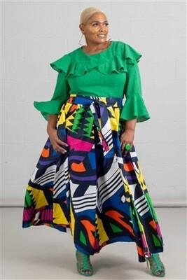 Abstract Elastic Waist Authentic African Print Maxi Skirt