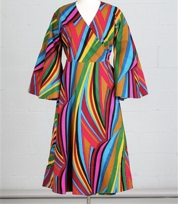 Abstract African Print Wrap Dress