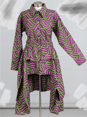 Pink Green Abstract African Print Tier Ruffle Sleeve Dress