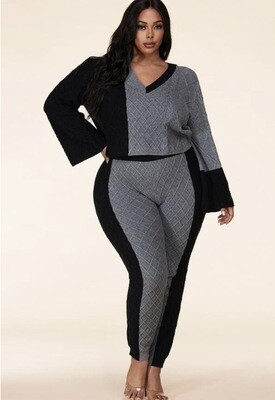Grey Black Two-Tone Cable Knit Set