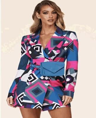 Mix Print Blazer / Dress (Purse Included)