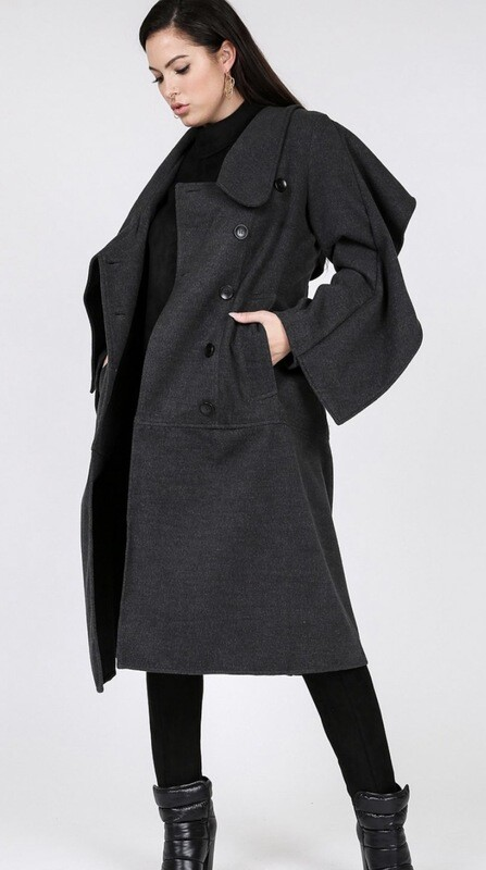 Charcoal Wide Collar Double-Breasted  Buttom Coat