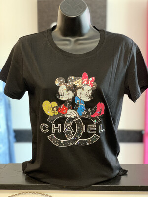 Black Mickey Minnie T-shirt