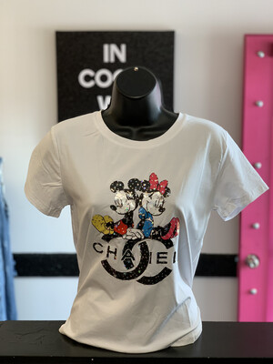 White Mickey Minnie T-shirt