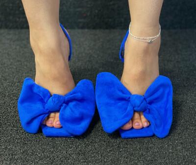 Chic - Royal Blue Sling Bow Shoe