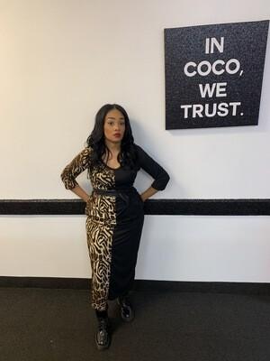 Leopard Print Black Two Toned Dress