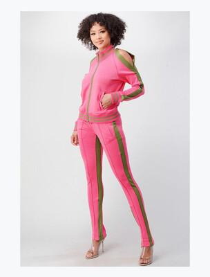 Pink/Green Cold Shoulder Jogger Set
