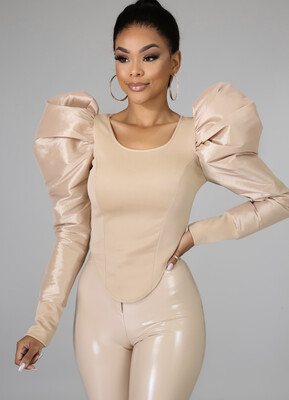 Tan Puff Sleeve Top