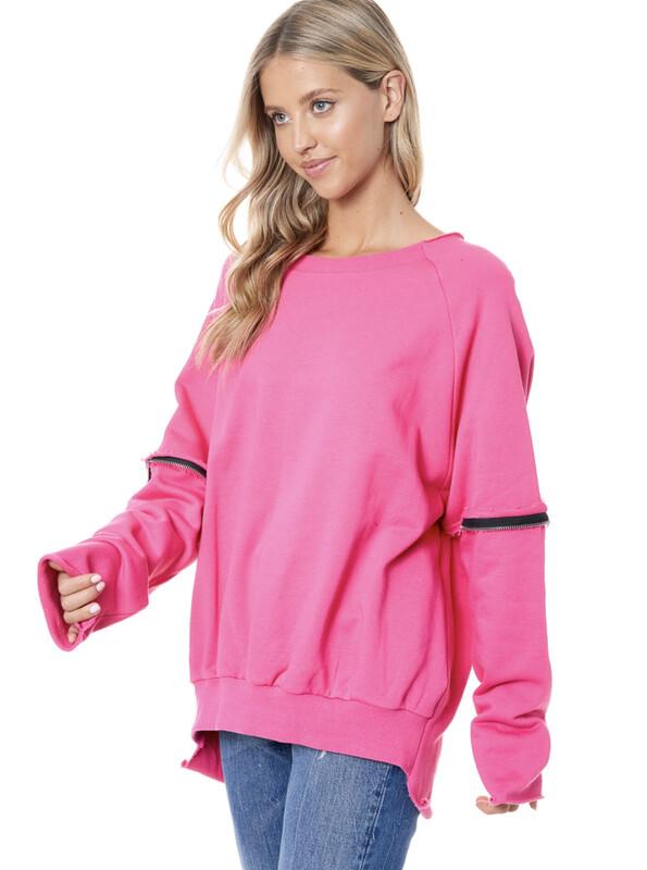 Pink Ripped Back Zipper Sweatshirt