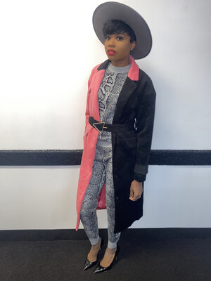 Pink and Black Cross Color Coat