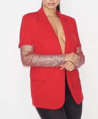 Red Bling Sleeve Blazer