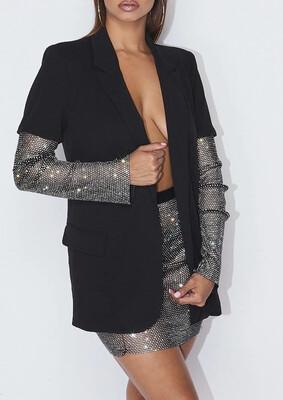 Black Bling Sleeve Blazer