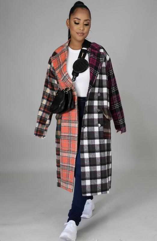 Plaid Color-Block Coat / Dresz
