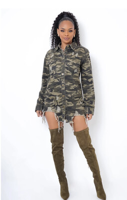 Camo Distressed Dress / Jacket