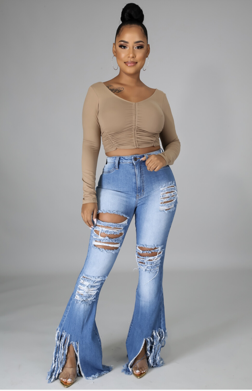 Distressed Side Bottom Jeans