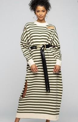 Olive Striped Oversized Sweater Dress
