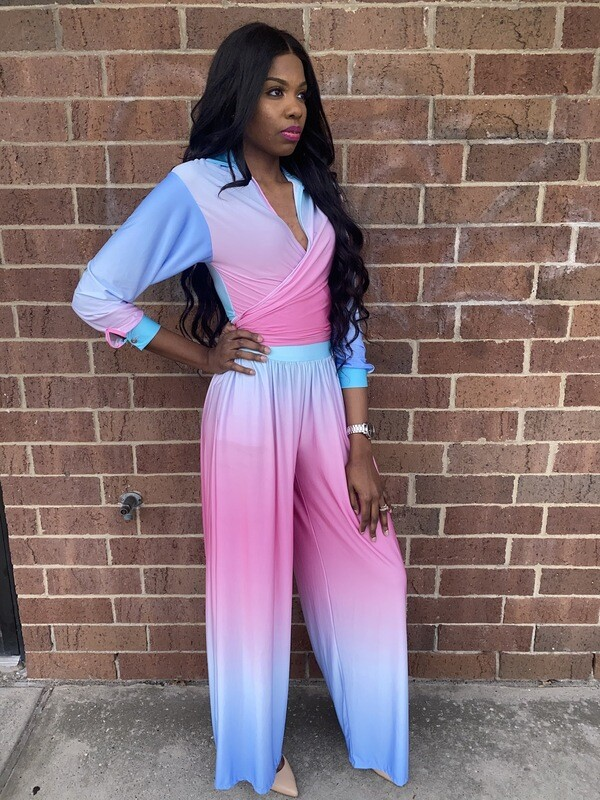 Pink Blue Two Piece Set