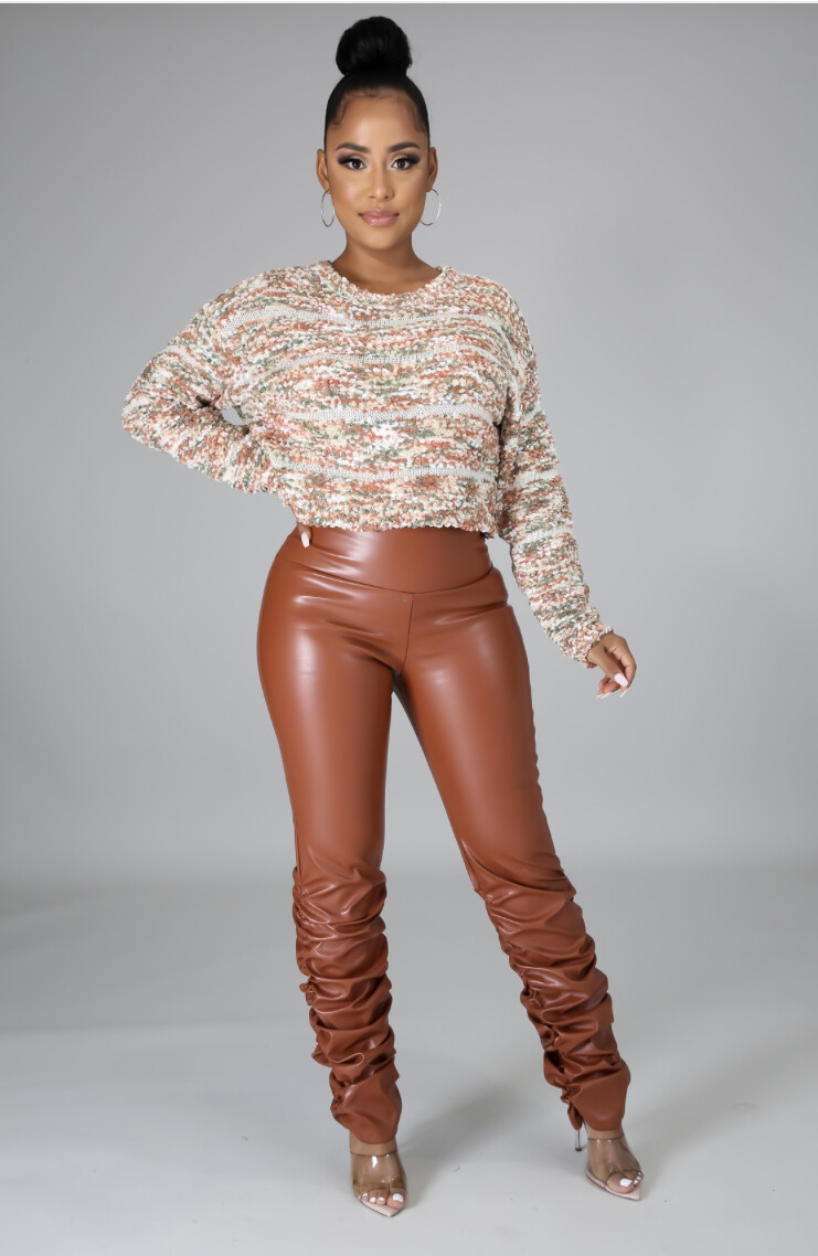 Cognac Leatherette Scrunch Pants