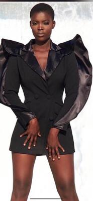 Black Puff Sleeve Blazer