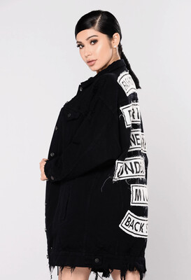Black Denim Graphic Jacket