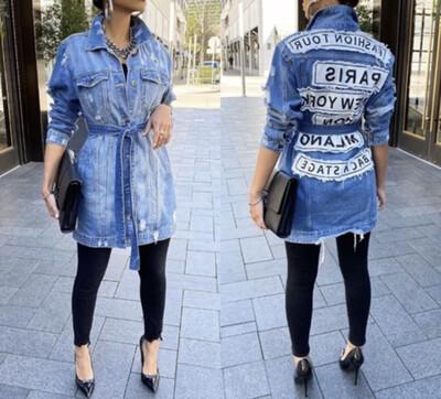 Blue Denim Graphic Jacket
