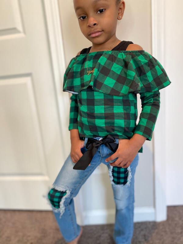 Plaid - Green Pant Set