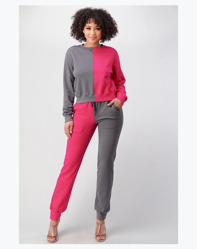Pink Grey Jogger Set