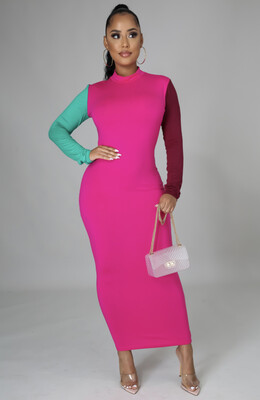 Pink Cross Color Dress