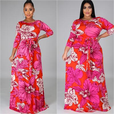 Pink/Red Floral Dress