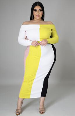 Color-block Off Shoulder Fitted Dress
